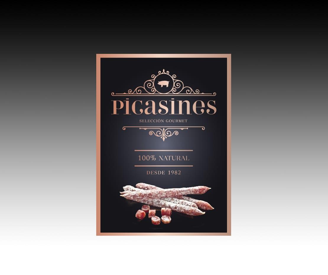 Etiqueta para Picasines, diseño gráfico