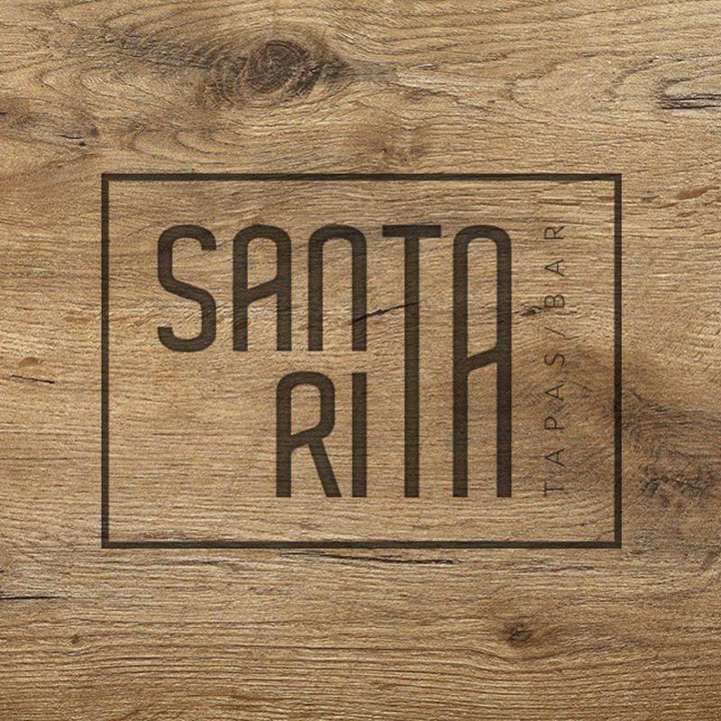 Santa Rita, tapas, diseño de logo en madera