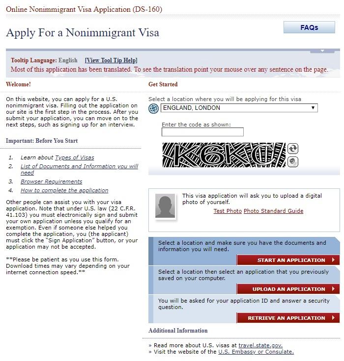 Wniosek o amerykańską wizę DS-160