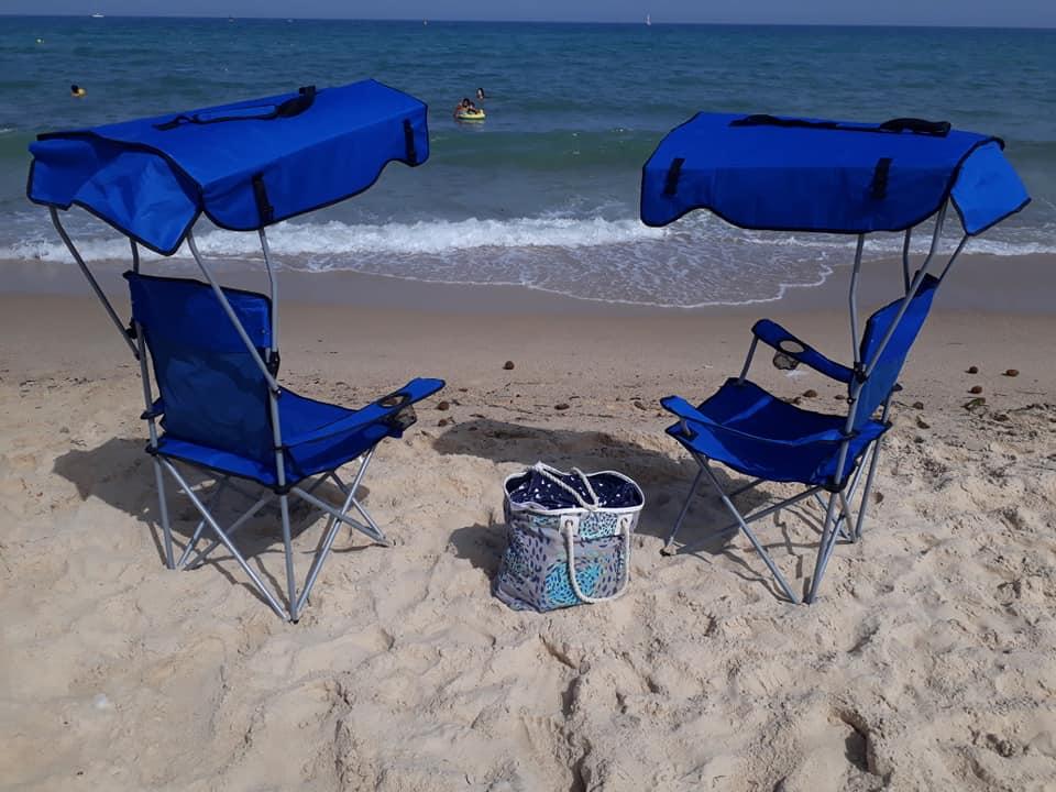 chaise de plage avec pare soleil