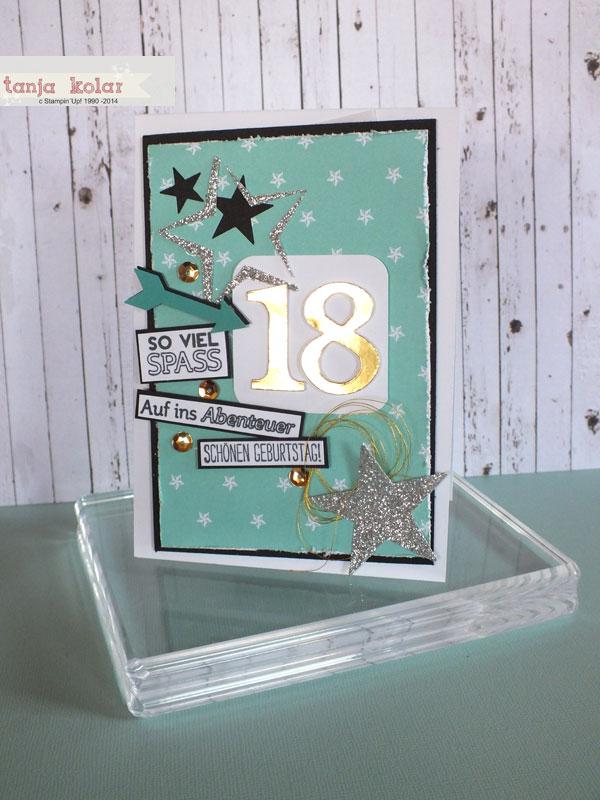 Geburtstagskarte zum 18  Kreativ mit Tanja  Workshops