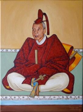 Portret van een Japanse vechtkunst grootmeester in oude stijl