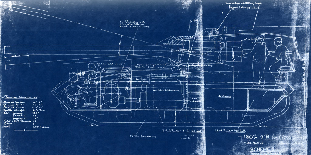 A blueprint of the FV215 from the 1950s. Source: warspot.ru