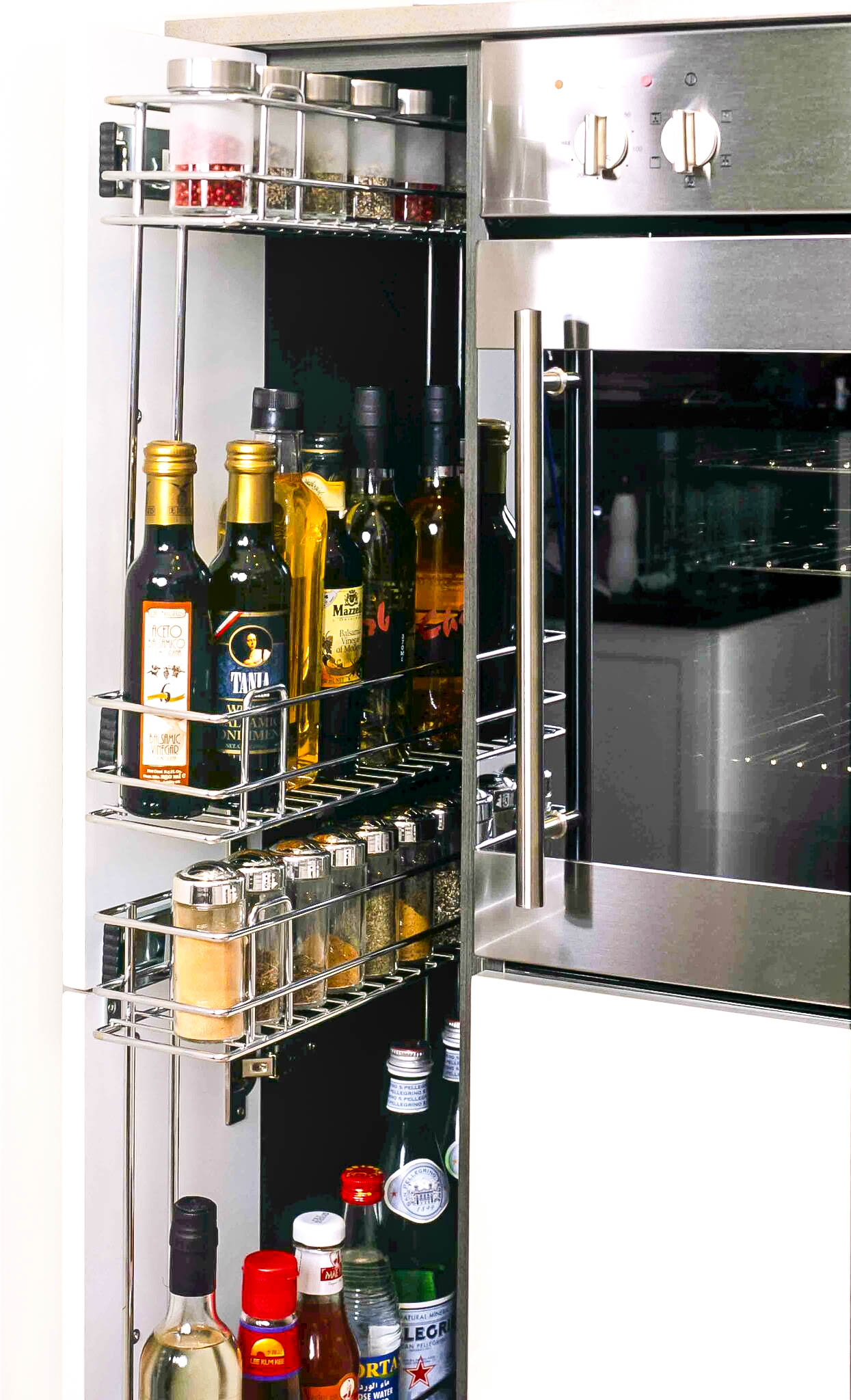 Stainless Steel Pull Out Spice Rack For Narrow Kitchen