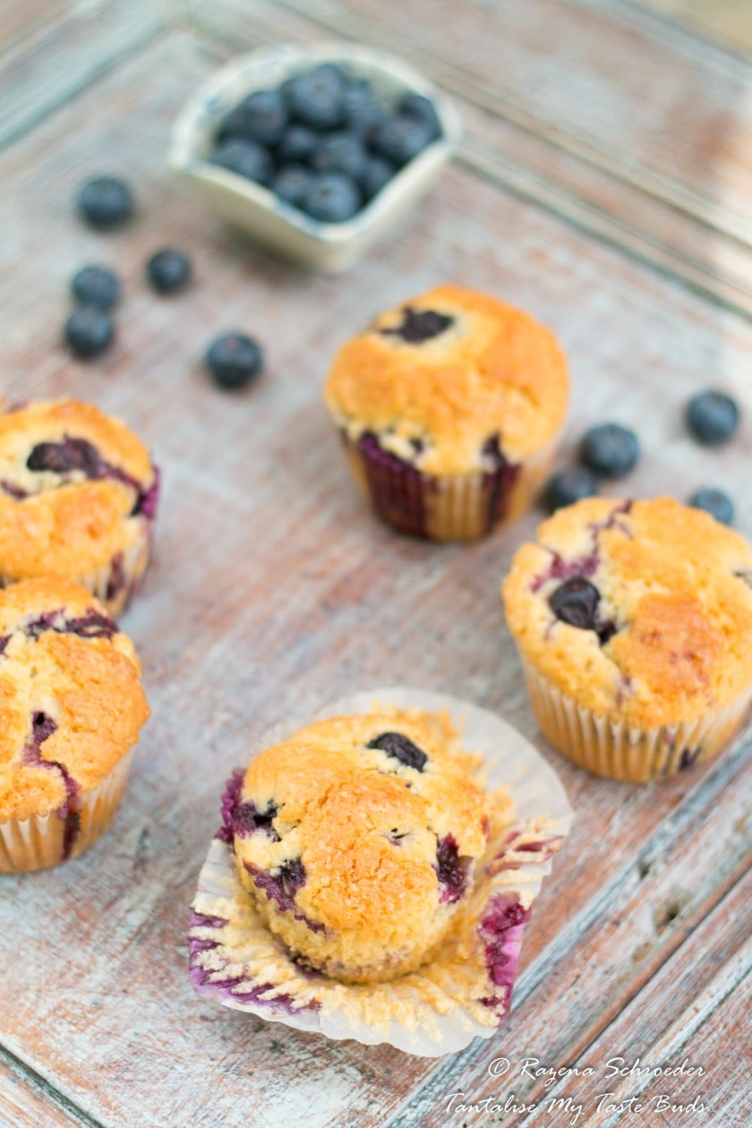 Moist Blueberry Muffins unwrapped