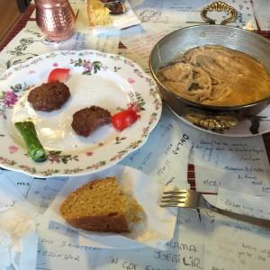 Mihlama, lamb meatballs and cornbread