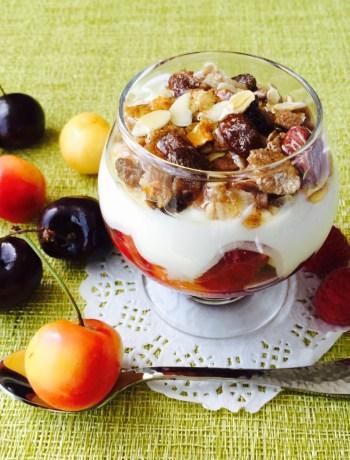 Cherry and raspberry breakfast sundae