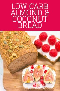 Almond coconut bread with labneh, figs and raspberries