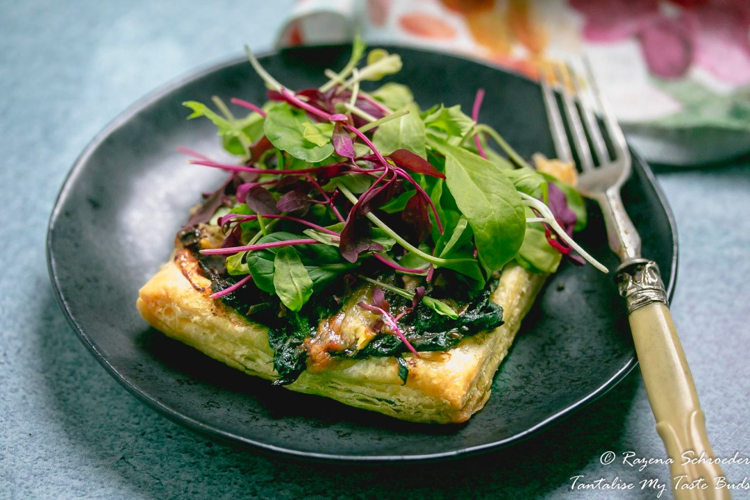 Caramelised onion, fig and brie tart