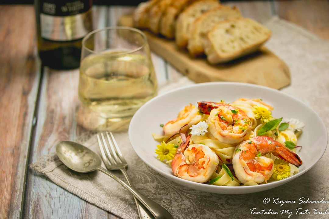 Tagliatelle with garlic and chili prawns