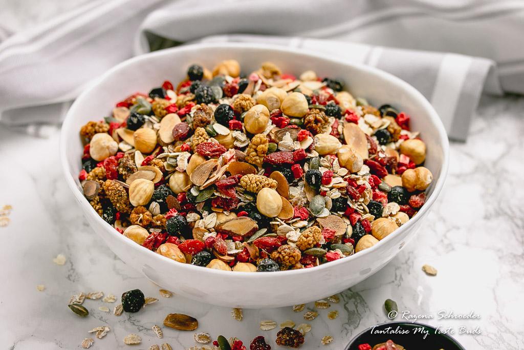 Big bowl of Toasted Luxury Berry Nut Muesli