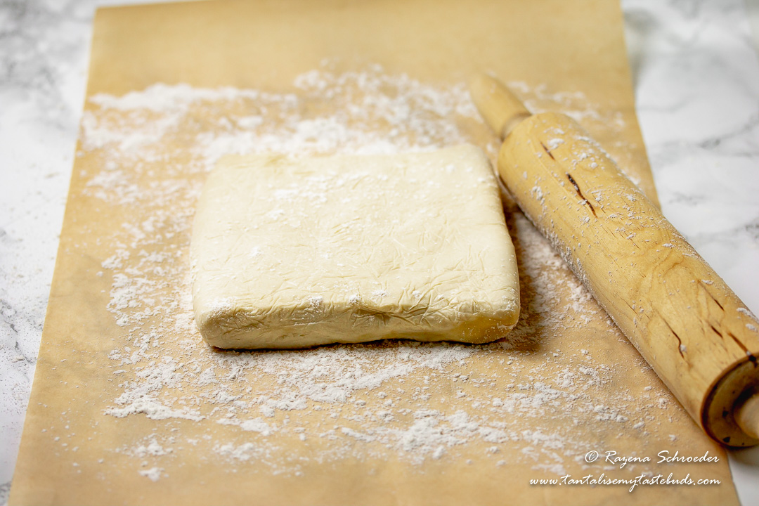 Easy Hot Water Flaky Butter Pastry with rolling pin