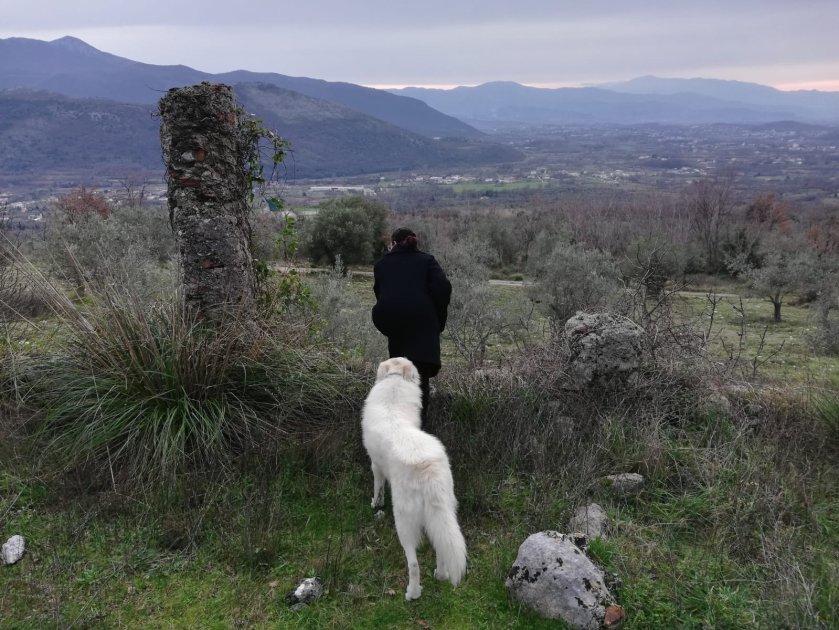 donna con cane montagna