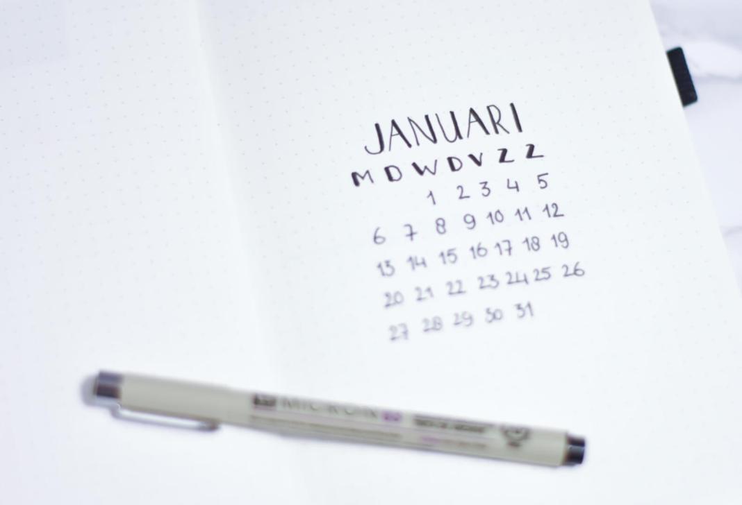 voorpagina januari bullet journal