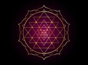 El yantra de el cosmos stá delimitado desde el exterior por una línea o un grupo de líneas que forman su perímetro