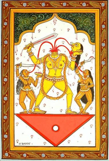 La sexta Gran Sabiduría Cósmica es Chinnamasta , la diosa sin cabeza