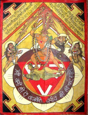 Representación de Chinnamasta con Shiva a sus pies