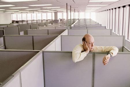Boss in empty office