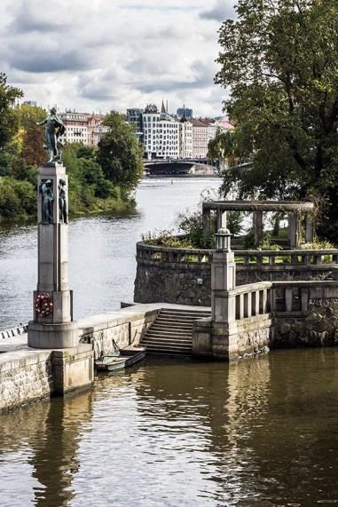 Prague Panorama View at Dancing house across moldau river Photographer Tanya Antalikova