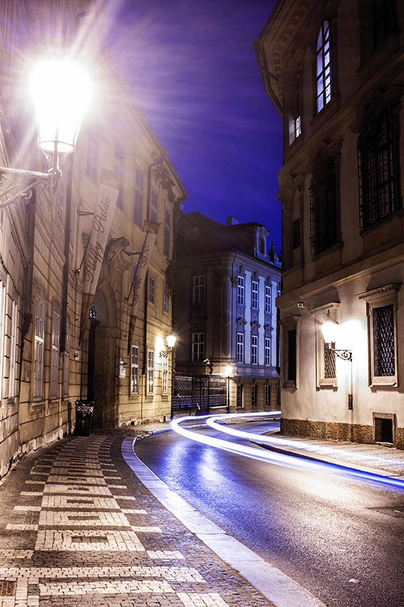 Prague street at night photographed by Fine Art Photographer Tanya Antalikova