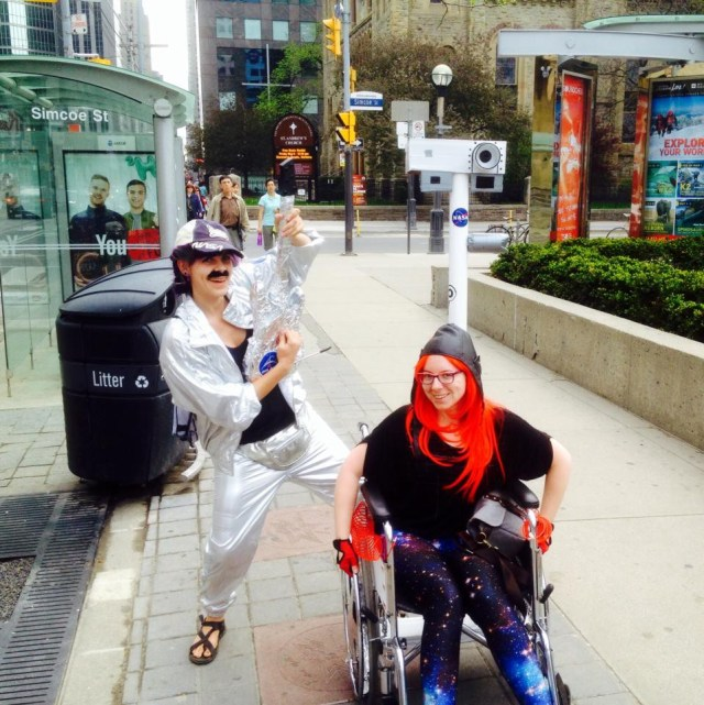 Tanya Harrison at the Toronto Science Chase in her wheelchair decked out to look like the Curiosity rover