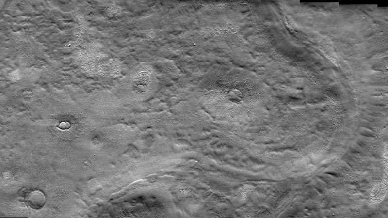 Possible glacial flow features in Arcadia Planitia, Mars