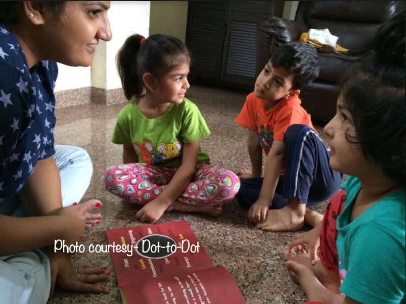 Dot-to-Dot Co-founder Shuchi in a art session with kids