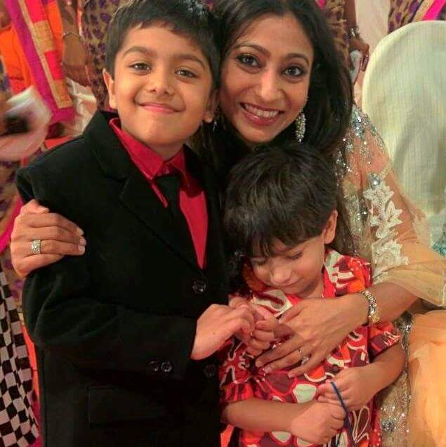 Paulomee Mehra with her sons