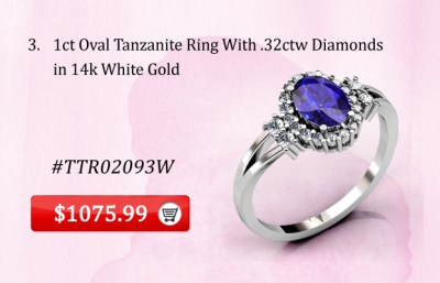 Oval Tanzanite Ring 14k White Gold