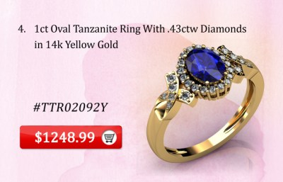 Oval Tanzanite Ring 14k Yellow Gold