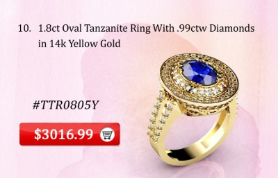 1.8ct Oval Tanzanite Ring With .99ctw Diamonds