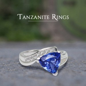 trillion cut tanzanite ring for sale