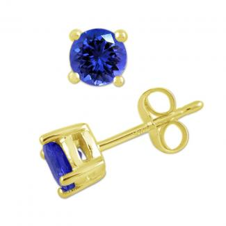 12 X 12 mm Round Cut Tanzanite Studs Earrings in 14k Yellow Gold