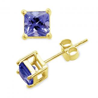 4.5x4.5 MM Princess Cut Tanzanite Studs Earrings in 14k Yellow Gold