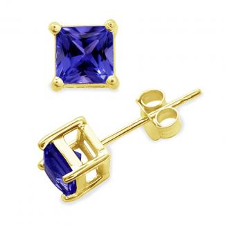 7x7 MM Princess Cut Tanzanite Studs Earrings in 14k Yellow Gold