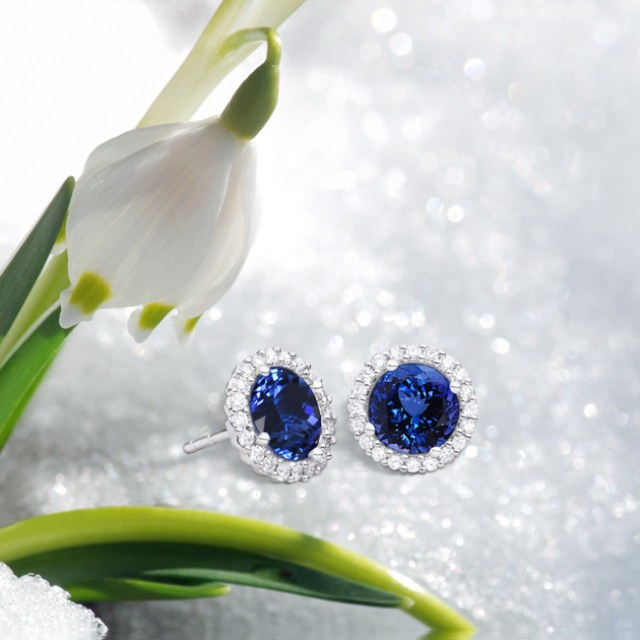 tanzanite stud earrings white gold