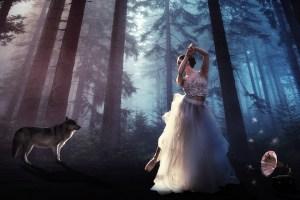 Bild von einem Wolf und Frau im Wald