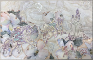 image Pegasis and children flying to castle