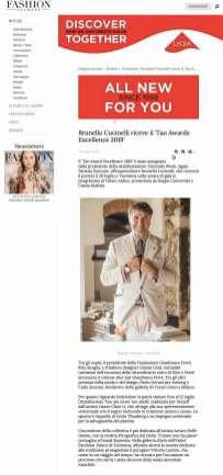 Brunello Cucinelli riceve il 'Tao Awards Excellence 2019' - Notizie : Creazione (#1120604)