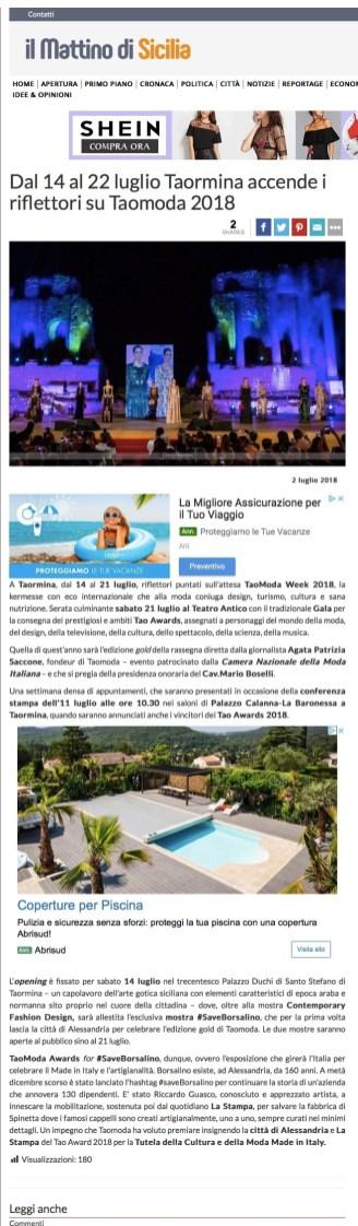 Dal 14 al 22 luglio Taormina accende i riflettori su Taomoda 2018 - il Mattino di Sicilia (2018-07-29 21-58-44)