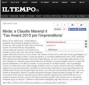 Moda a Claudio Marenzi il 'Tao Award 2015 per l'imprenditoria' - Adn-kronos - iltempo