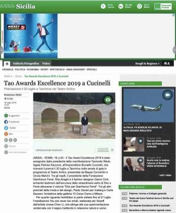 Tao Awards Excellence 2019 a Cucinelli - Sicilia - ANSA.it