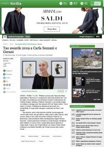 Tao awards 2019 a Carla Sozzani e Gerani - Sicilia - ANSA.it