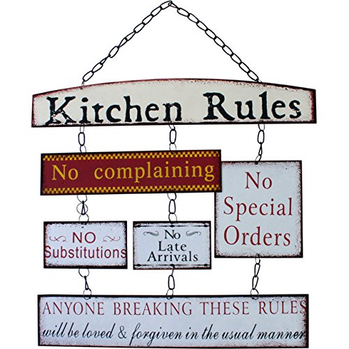 Kitchen Rules  Sentimental Signs  Hanging Metal Wall