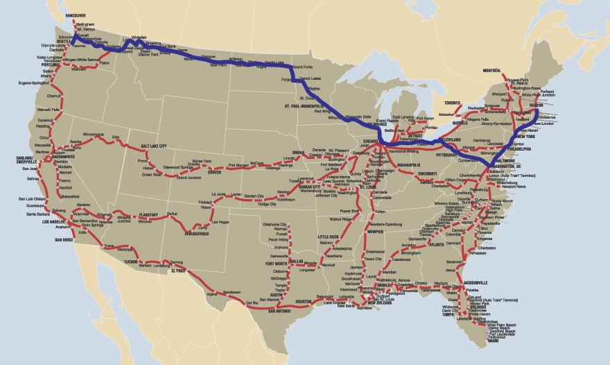 Coast East Amtrak Map Us