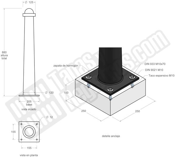 Bolardo de fundicin gris modelo SANT FELIU de 880 mm de