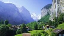 Ry Wodospad Domy Drzewa Lauterbrunnen Szwajcaria