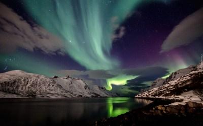 Islandia, Góry, Zorza, Polarna, Noc