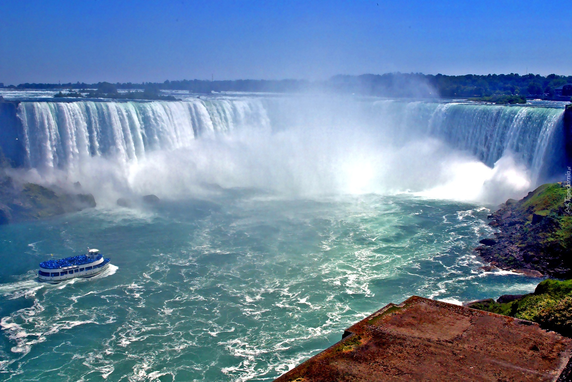 Niagara Falls At Night Wallpaper Wodospad Niagara Wycieczki Wzburzona Woda