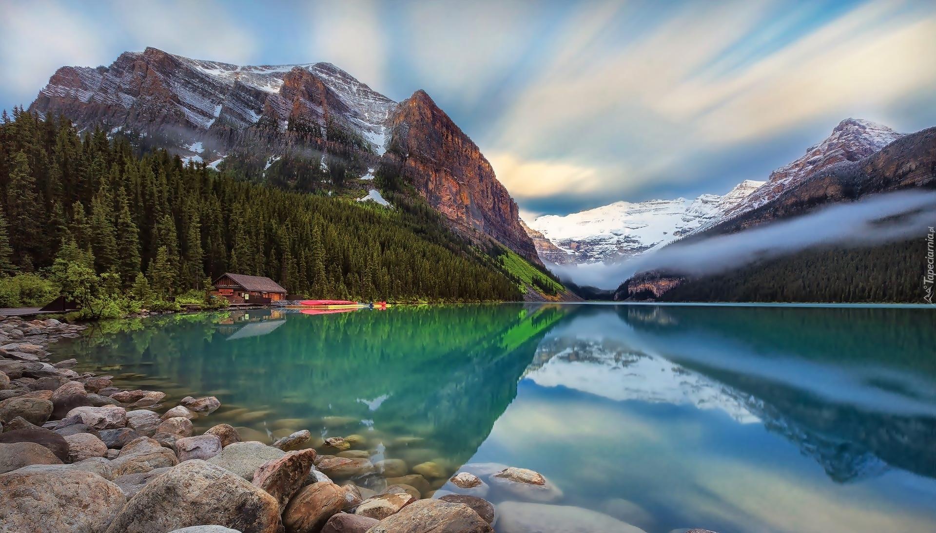 Numa Falls Canada Wallpaper Polodowcowe Jezioro Lake Louise W Parku Narodowym Banff W